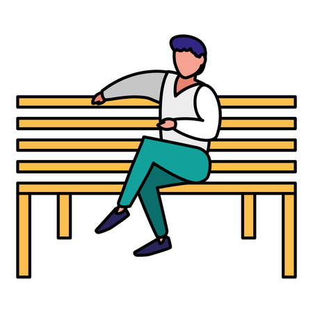 young man sitting in the park chair vector illustration design