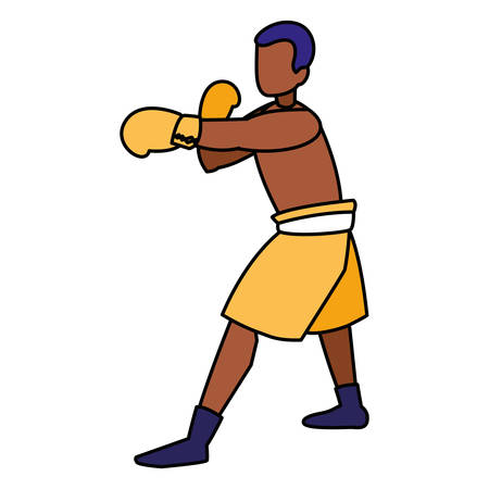 boxer training avatar character vector illustration design