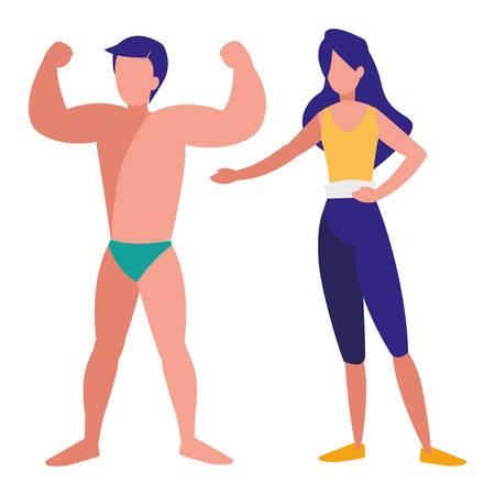 strong man with beautiful woman vector illustration design
