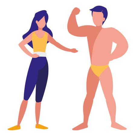 Hombre fuerte con hermosa mujer, diseño de ilustraciones vectoriales