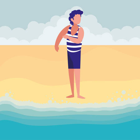 man with beach clothes vector illustration design