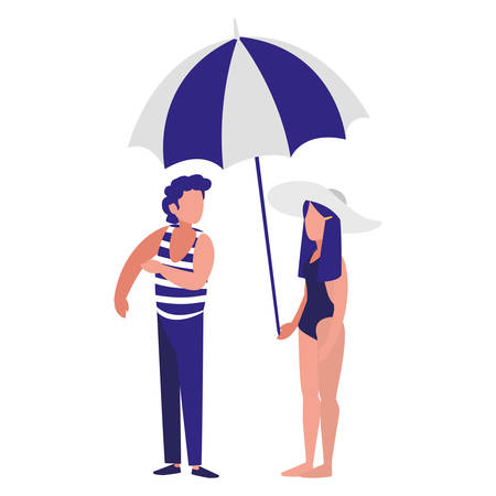 young woman with swimsuit and umbrella vector illustration design