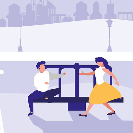 woman and man on playground roundabout over park  background, vector illustration Stock Illustratie