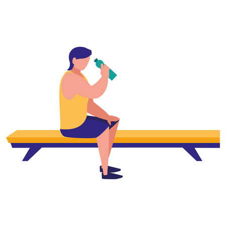 man wearing sport clothes and sitting in a seat over white background, vector illustration