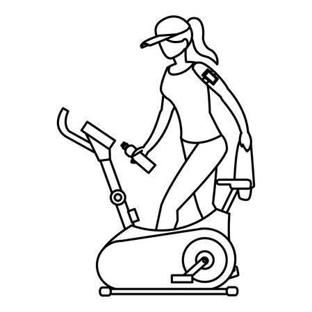Femme sur vélo d'exercice sur fond blanc, vector illustration
