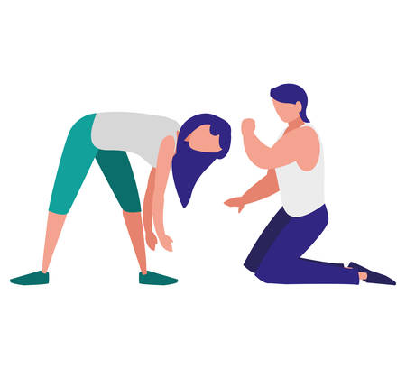 couple doing stretching over white background, colorful design. vector illustration