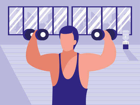 man exercising with dumbbells in the gym, colorful design. vector illustration