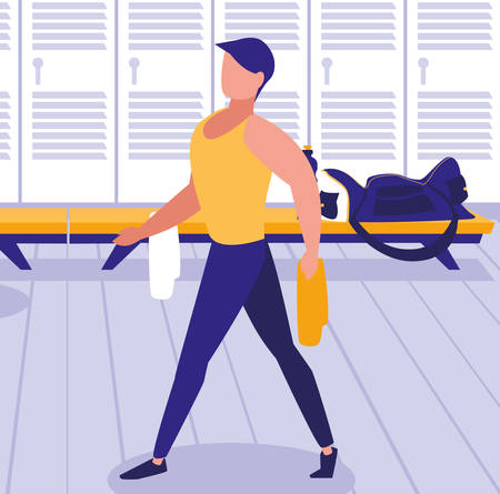 man wearing sport clothes in the gym, colorful design. vector illustration