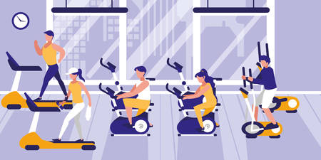 people in gym practicing sports vector illustration design