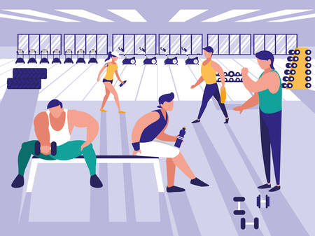 people lifting weights in gym icon vector illustration design