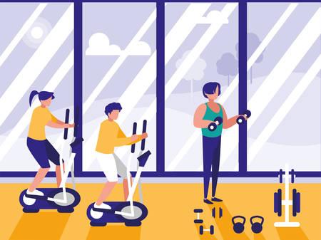 Les gens qui font de la filature dans la salle de gym vector illustration design icône