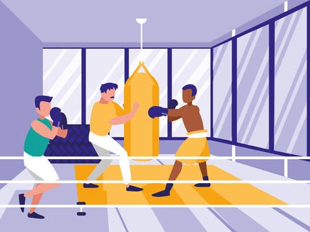 men practicing boxing in gym vector illustration design