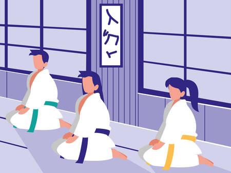 people in martials arts dojo scene vector illustration design