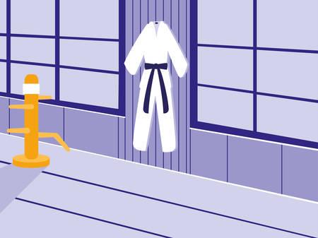 martials arts dojo scene vector illustration design