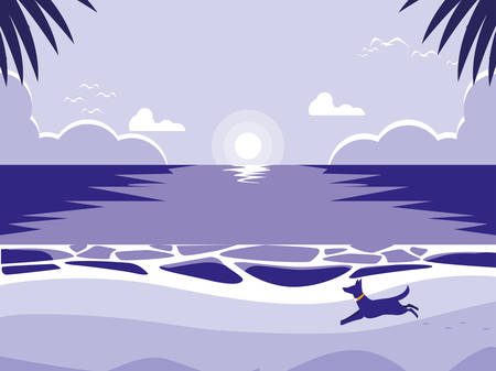 tropical beach with dog mascot vector illustration design