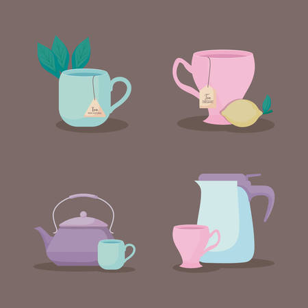 set of teapots and cups tea icon vector illustration design
