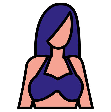 woman in swimsuit icon over white background, vector illustration