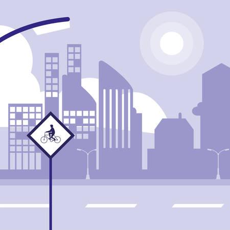 city landscape with city buildings and road sign, colorful design. vector illustration Illusztráció