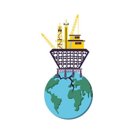 marine oil platform with world planet vector illustration design Vektorové ilustrace