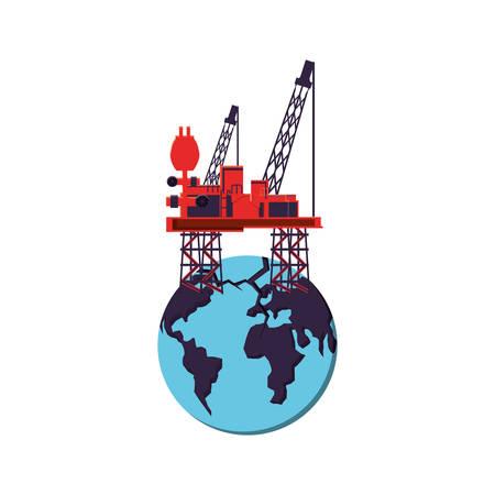 marine oil platform with world planet vector illustration design