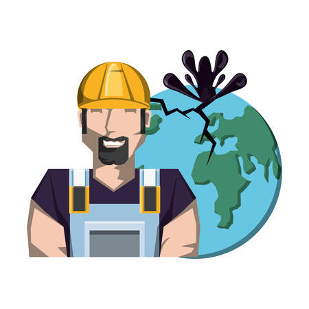 oil industry worker with earth planet vector illustration design