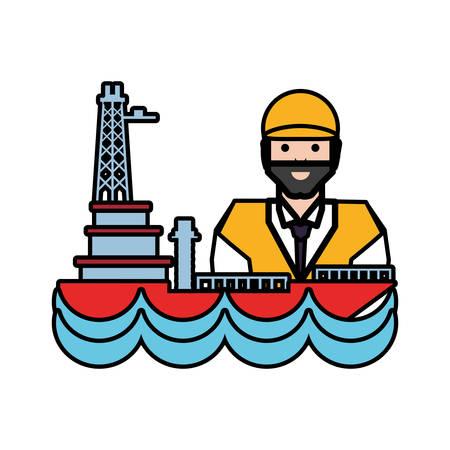 worker with marine oil platform vector illustration design