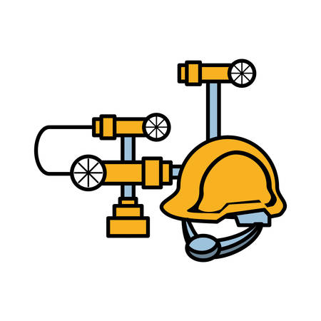 pipeline petroleum with helmet vector illustration design