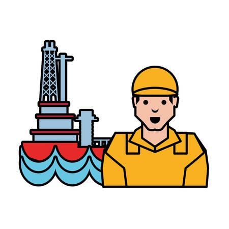 worker with marine oil platform vector illustration design Vektorové ilustrace