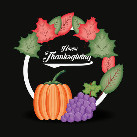 pumpkin with grapes and frame of thanksgiving day vector illustration design