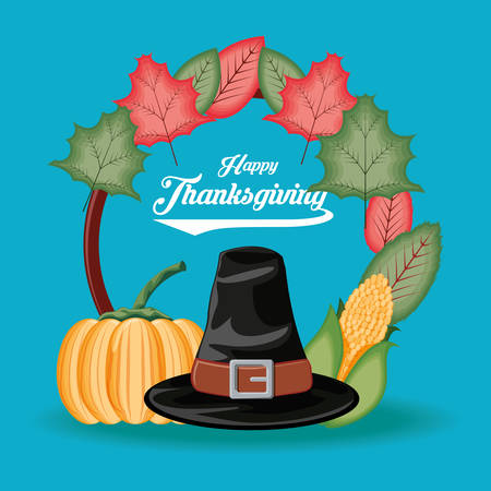 pilgrim hat with pumpkin and cob of thanksgiving day vector illustration design Illustration