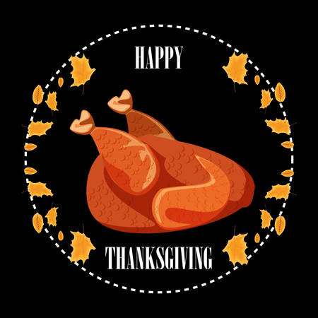 turkey dinner in frame of thanksgiving day with leafs vector illustration design