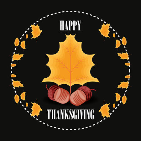 nuts for thanksgiving day with leafs vector illustration design