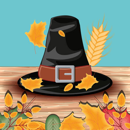 pilgrim hat of thanksgiving day with leafs vector illustration design