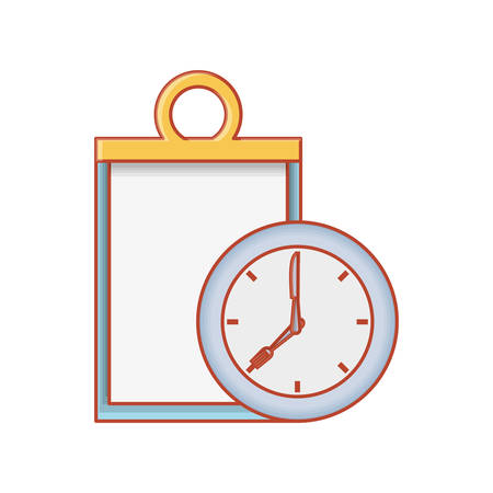 checklist clipboard with clock time vector illustration design