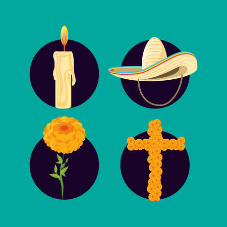mexican hat with set icons vector illustration design Vectores