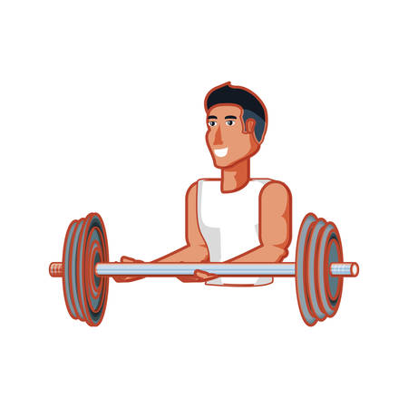 young athletic man with dumbbell sport vector illustration design