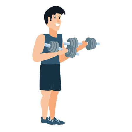 young athletic man with dumbbells sport vector illustration design