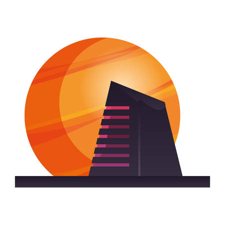 futuristic building planet on white background vector illustration Illustration