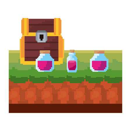 video game treasure chest potion bottles vector illustration