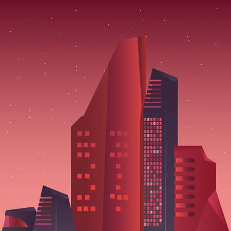 cityscape buildings urban futurist structure vector illustration