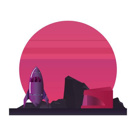 rocket planet digital futurist science vector illustration