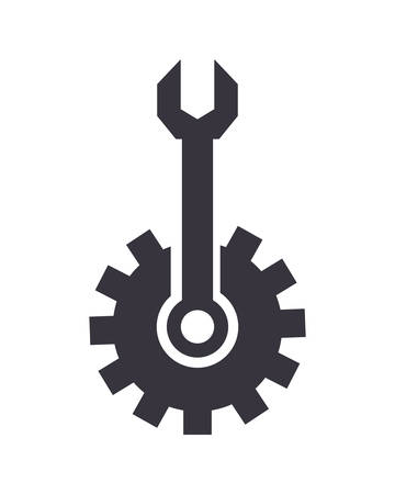 gear and wrench tool support vector illustration