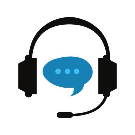 call center headset speech bubble vector illustration Vecteurs