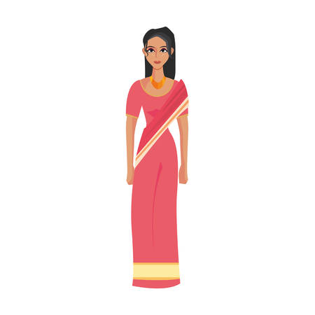 indian woman in national costume clothes vector illustration Standard-Bild - 111333526