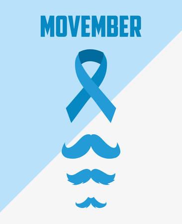 movember day blue ribbon types moustache vector illustration Illustration