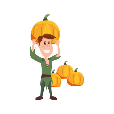 child in halloween character costume vector illustration
