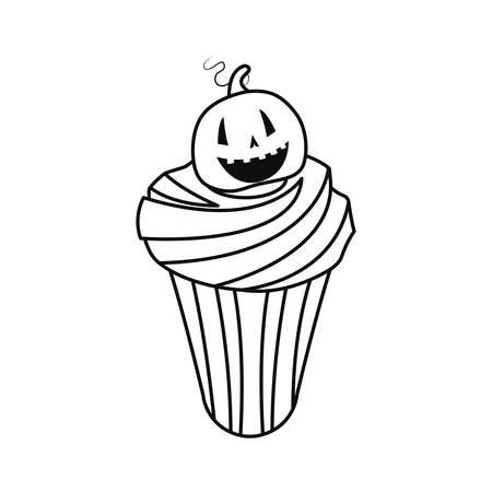 sweet cupcake halloween on white background  vector illustration