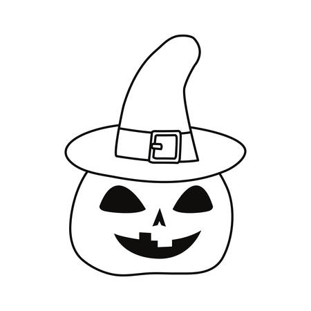 halloween pumpkin witch hat on white background vector illustration