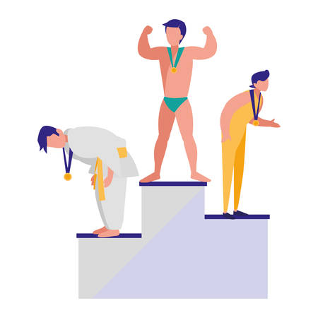 sport winners on the podium over white background, vector illustration