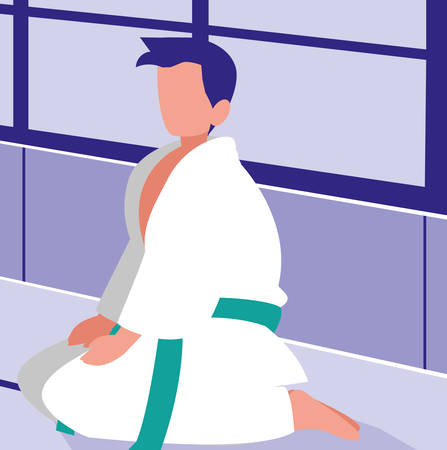 karate man over colorful background, vector illustration
